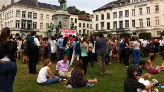 Interns gather for the 'sandwich protest'