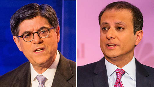 Jack Lew and Preet Bharara at Delivering Alpha