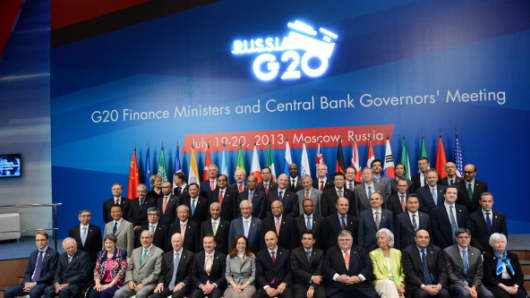 Participants of the G20 Finance Ministers and Central Bank Governors' meeting on July 20
