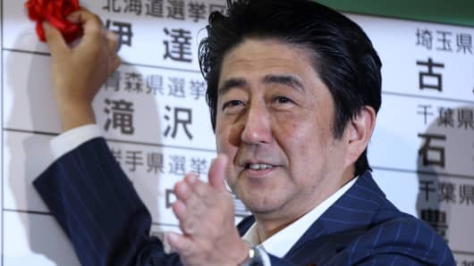 Shinzo Abe, Japan's prime minister and president of the Liberal Democratic Party (LDP), places a red paper rose on an LDP candidate's name to indicate an upper house election victory at the party's headquarters in Tokyo, Japan, on Sunday, July 21, 2013.