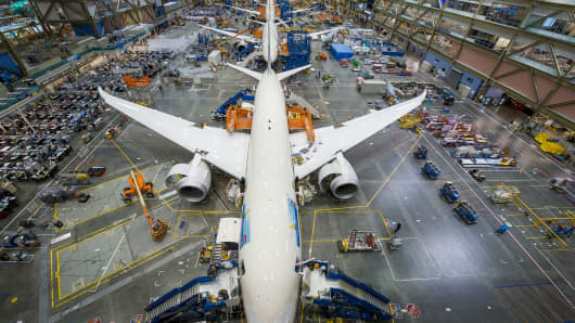 A Boeing 787 Dreamliner being built in Everett, Wash.