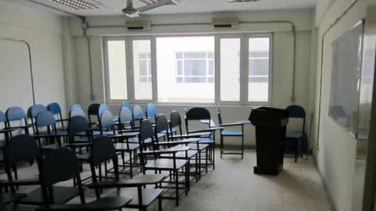 A classroom at the Sheberghan teacher-training facility sits empty in Afghanistan as part of the reconstruction projects.