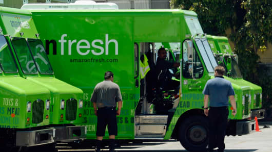 An Amazon Fresh truck arrives at a warehouse in Inglewood, California.