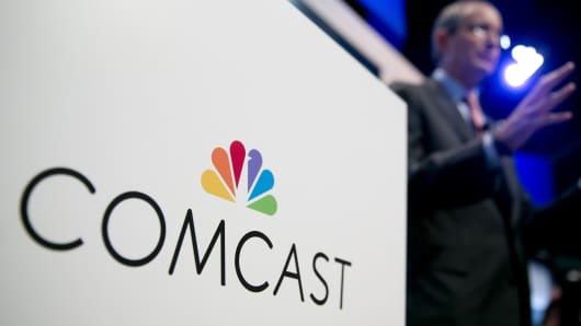 File photo: Comcast Chairman and CEO Brian Roberts speaks during a news conference in Washington, D.C.
