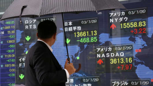 A pedestrian holding an umbrella looks at an electronic stock board displaying the closing figure of the Nikkei 225 Stock Average outside a securities firm in Tokyo, Japan.