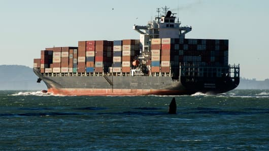 A container ship leaves the San Francisco Bay in San Francisco, California, U.S.