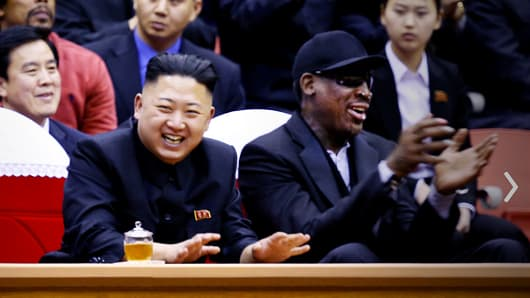 Kim Jong-Un and Dennis Rodman at a basketball game in North Korea in February 2013
