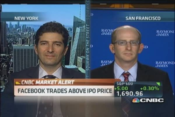 Facebook trades above IPO price of $38