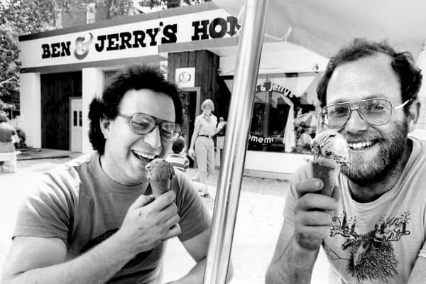 Ben Cohen, left, and Jerry Greenfield in 1980
