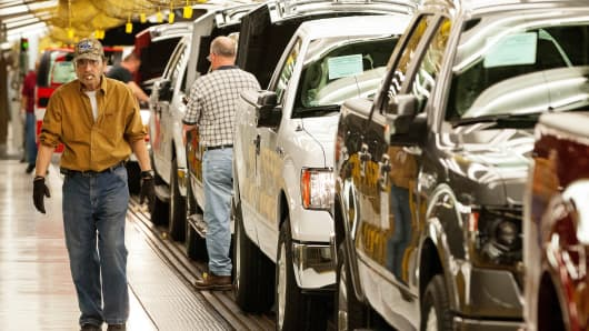 Ford F-150 trucks at the company's Kansas City, Mo., assembly plant in Claycomo, Mo.