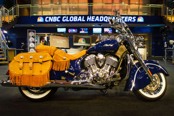 The all-new, 2014 Indian Chief Vintage soft bagger (starting MSRP: $20,999) in CNBC World Headquarters in Englewood Cliffs, N.J.