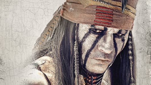 "Johnny Depp as 'Tonto' In Walt Disney's ""The Lone Ranger""."