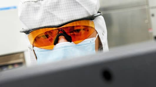 A technician at Applied Materials.