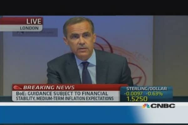 BoE's Carney: No rate rise until unemployment below 7%
