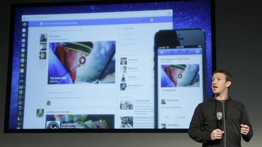 Facebook CEO Mark Zuckerberg speaks at Facebook headquarters in Menlo Park, California. Zuckerberg on Thursday unveiled a new look for the social network's News Feed