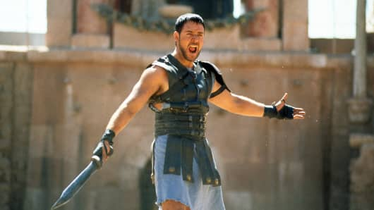 Russell Crowe with sword in a scene from the film 'Gladiator', 2000.