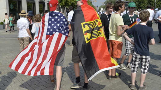 The U.S. and the German flags worn as capes during President Barack Obama's visit to Berlin in June.