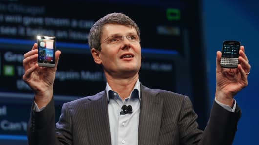 CEO Thorsten Heins with the BlackBerry 10 in January.