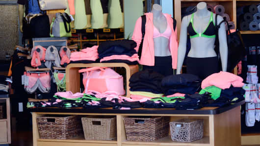 Lululemon clothing on display in Pasadena, Calif.