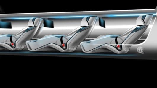 Artist rendering of Hyperloop passenger capsule version cutaway with passengers onboard.