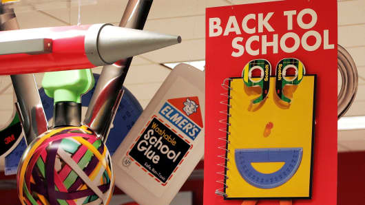 Back-to-school signs are displayed in a Target store in Chicago, Illinois.
