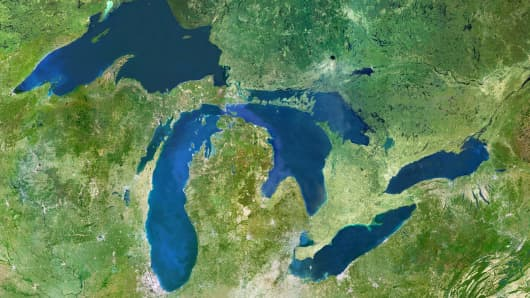 Satellite image of the Great Lakes: Huron, Ontario, Michigan, Erie and Superior.