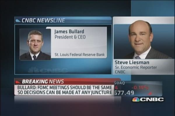 Bullard: FOMC needs to see more data before tapering