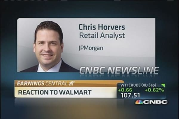 Wal-Mart's earnings meet expectations but sales slip