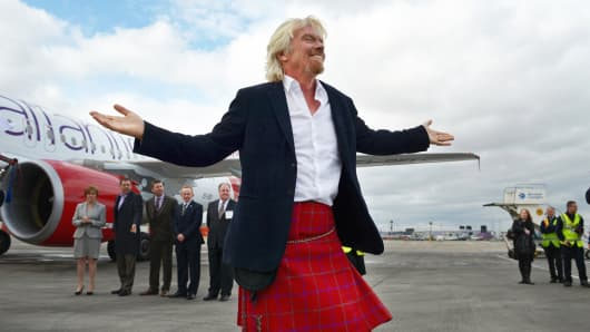 Sir Richard Branson arriving at Edinburgh Airport in April to launch Virgin Atlantic's Little Red.