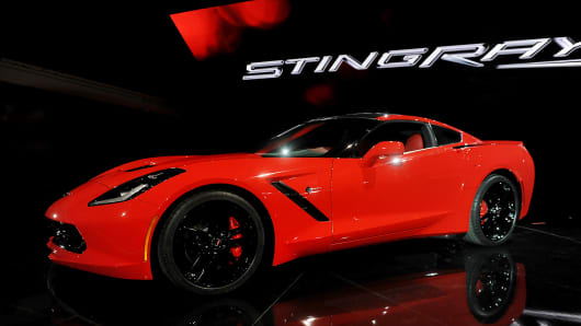 The 2014 Chevrolet Corvette Stingray is displayed after being unveiled ahead of the 2013 North American International Auto Show (NAIAS) in Detroit, Michigan.