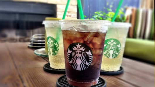 New carbonated drinks being served at a Starbucks location in Austin, TX.