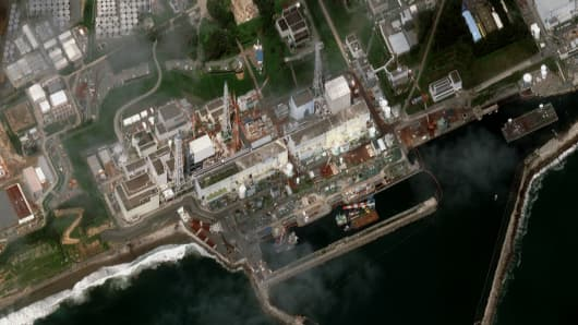A satellite image of the Fukushima Nuclear Reactor following concerns over a build-up of radioactive ground water.