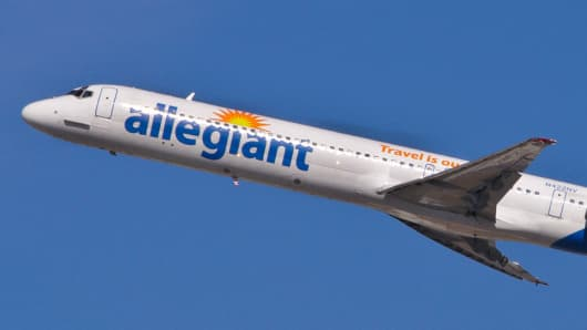 A file photo of an Allegiant Air plane