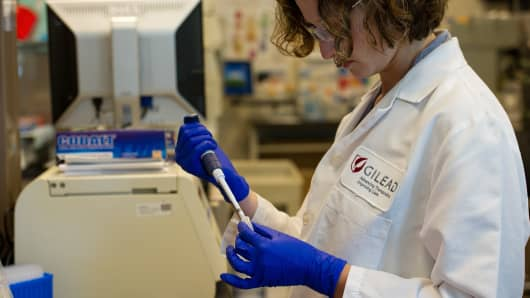 A scientist at Gilead Sciences' laboratory in Foster City, Calif.