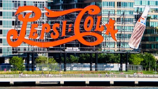 Pepsi Cola billboard on Long Island City in New York.