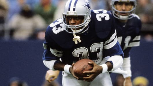 Tony Dorsett of the Dallas Cowboys in action Dec. 19, 1981