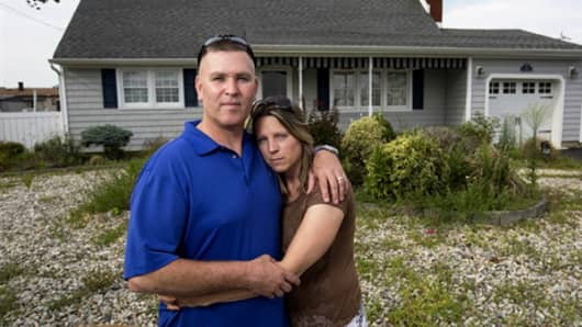 Sandy survivors Kevin Faller and Karen Spanover, of Toms River, N.J.