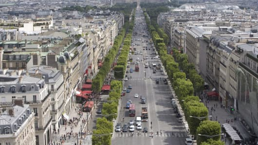 The Champs-Elysees in Paris, France