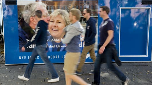 A poster of the Norwegian leader of the opposition party is seen on September 9, 2013 in downtown Oslo.