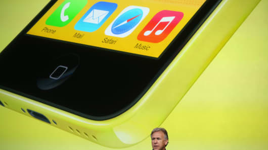 Apple's Phil Schiller speaks about the new iPhone 5C during Apple product announcement.