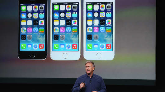 Apple's Phil Schiller speaks about the new iPhone 5S during an Apple product announcement.