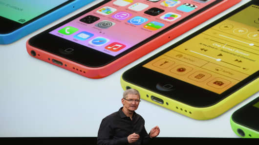 Apple CEO Tim Cook speaks about the new iPhone products during the announcement.