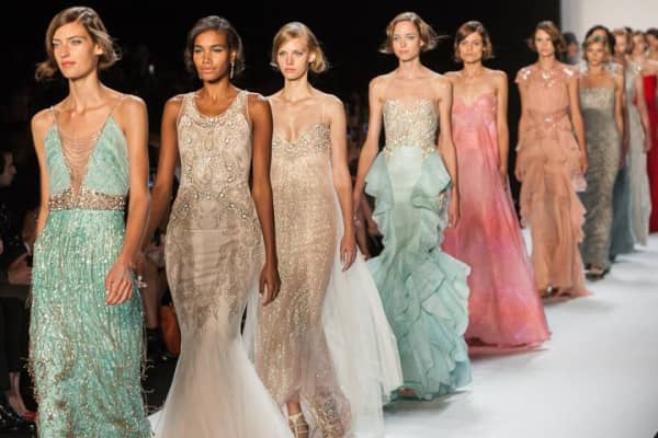 Models walk the runway at the Badgley Mischka fashion show during MBFW Spring 2014 Fashion Week.