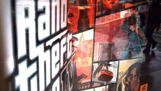 A window display advertises Grand Theft Auto IV April 28, 2008 in New York City.