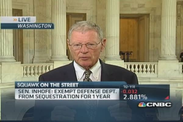 Exempt Defense Dept. from sequestration for one year: Sen. Inhofe