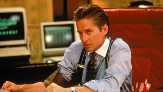 "Michael Douglas as Gordon Gekko in the 1987 Oliver Stone film, ""Wall Street."""