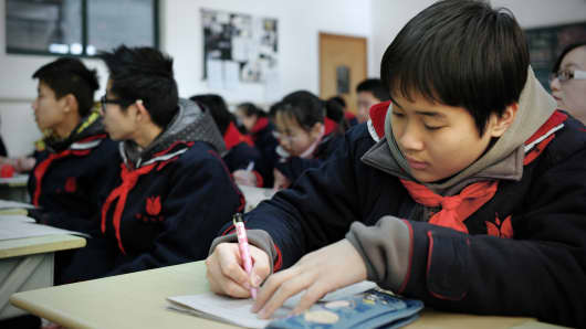 Students at Jing'an Education College Affiliated School in Shanghai.