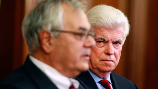 Barney Frank, left, and Christopher Dodd in 2008