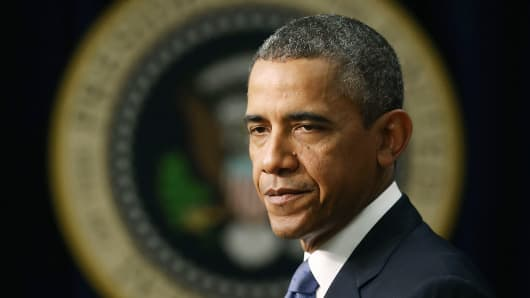 President Obama speaks on Tuesday about progress in the economy since the financial crises began five years ago.