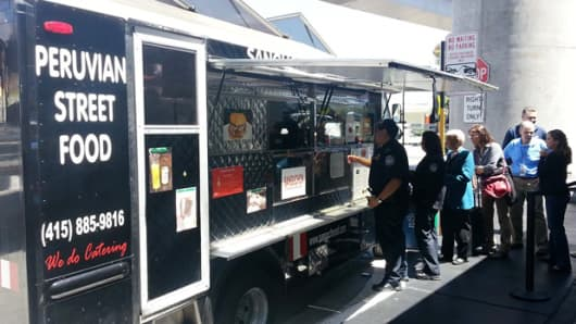 A food truck vendor outside San Francisco International Airport.